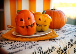 Stuffed Bell Pepper Jack-o-Lanterns