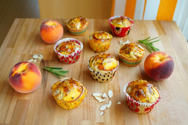Peach Muffins with Rosemary and Almonds